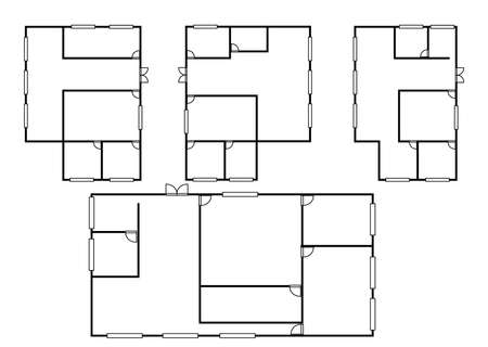 Concept of Architecture plans in different styles in top view