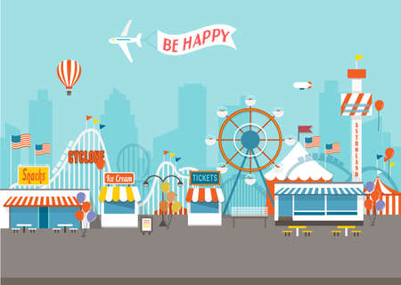 high speed train: Vector Concept of Happy Fair day with isolated objects Illustration