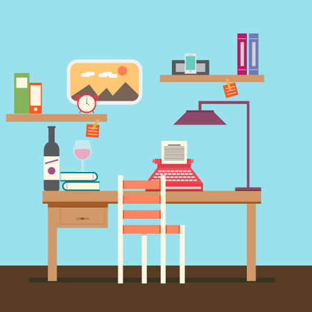 typewriting: Cute Copywriter workspace vector for your ideas