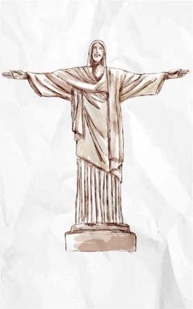 Hand drawn statue of christ  in Brazil Illustration