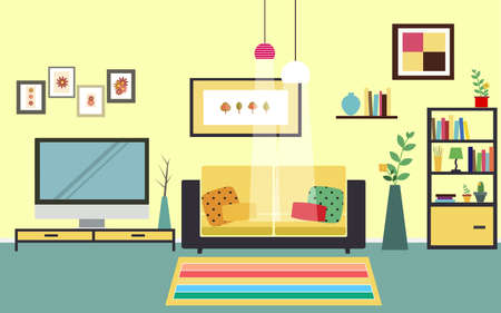 space television: Concept of living room vector for your ideas Illustration