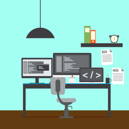 responsive: Modern developer workspace vector for your ideas Stock Photo