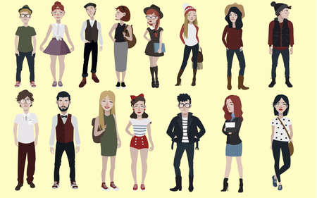 Collection of fashion teenagers in different styles clothes Illustration