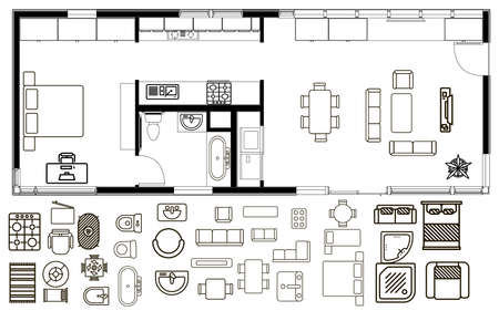 Concept of Architecture plan with furniture in top view Illustration