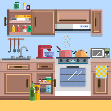 Concept of Kitchen interior vector for your ideas