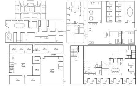 Kolekcja izolowanych biur florrplans w różnych stylach Ilustracje wektorowe