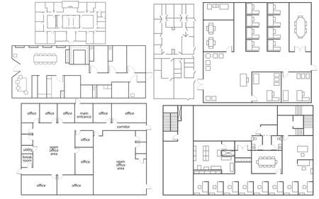 Verzameling van geïsoleerde office florrplans in verschillende stijlen Vector Illustratie