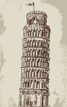 Hand drawn The leaning tower of Pisa vector