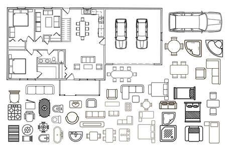 Plano de planta con elementos de muebles aislados en vista superior