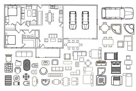 Plattegrond met geïsoleerde meubelelementen in bovenaanzicht