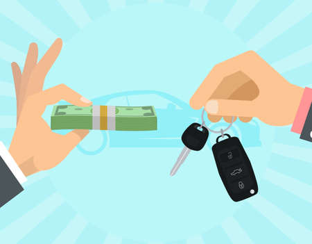Car selling hands with keys and money Illustration