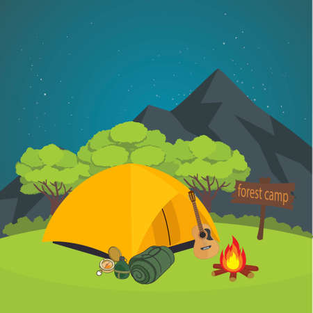 Forest camping with isoleted camping elements vector