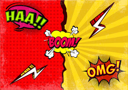 Comic expressions background with speech bubbles vector Illustration