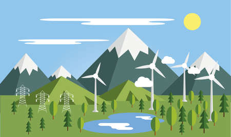 Summer mountains lanscape with isolated elements vector