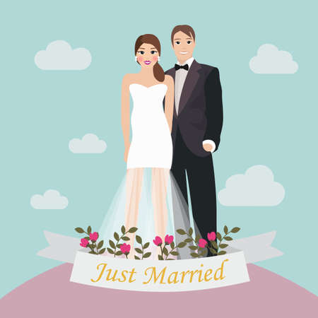 wedded: The Bride and Groom just married brochure Illustration