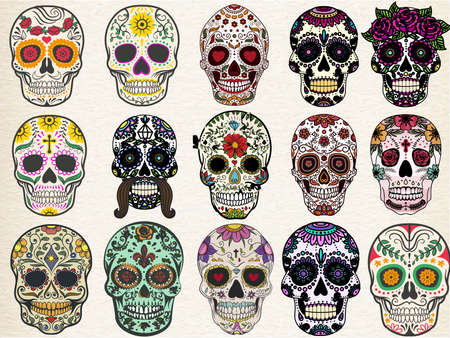 Trendy sugar skulls set with skulls in different styles