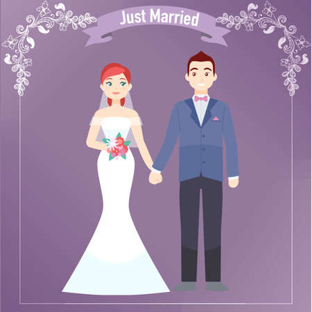 The Bride and Groom just married brochure Illustration
