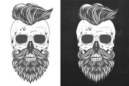 Retro skull with wings in vintage style vector
