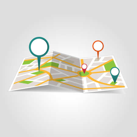 Isometric location map with map points on white background vector Çizim