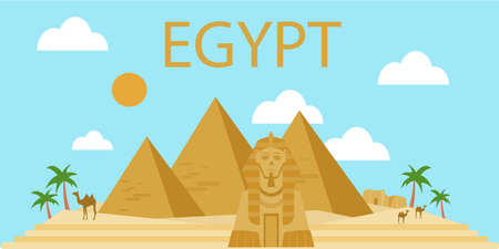 Bandera pirámides egipcias en el desierto con cielo azul Ilustración de vector