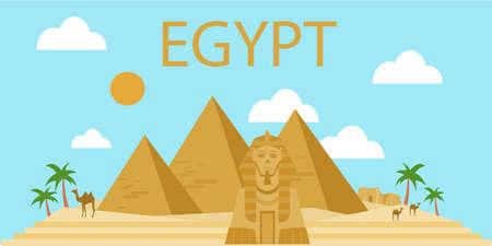 Egyptische piramidesbanner in woestijn met blauwe hemel Stock Illustratie
