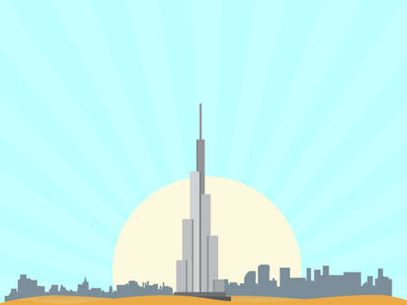United Arab Emirates with isolated objects vector Illustration