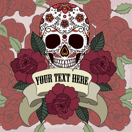Sugar skull with frame with ribbon and roses vector Illustration