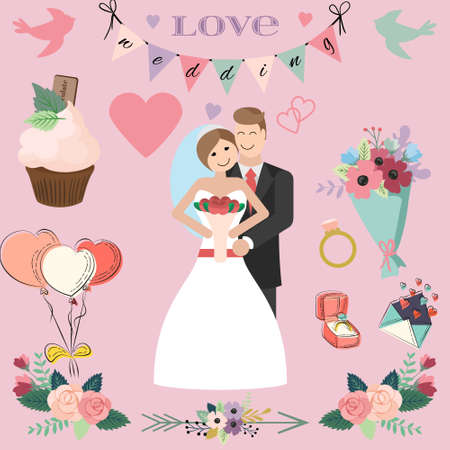 wedded: The Bride and Groom wedding couple with wedding elements Illustration