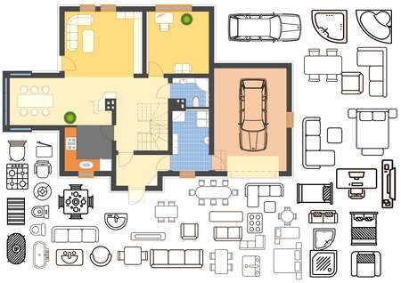 Floorplan with isolated furniture elements in top view Stock fotó - 81262460