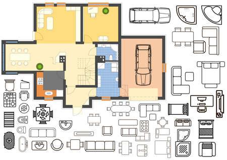 Plattegrond met geïsoleerde meubelelementen in bovenaanzicht Stockfoto
