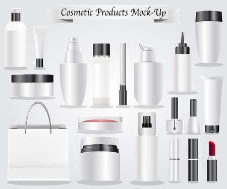 Conjunto de productos cosméticos paquete mock-up vector concepto Foto de archivo - 81003104