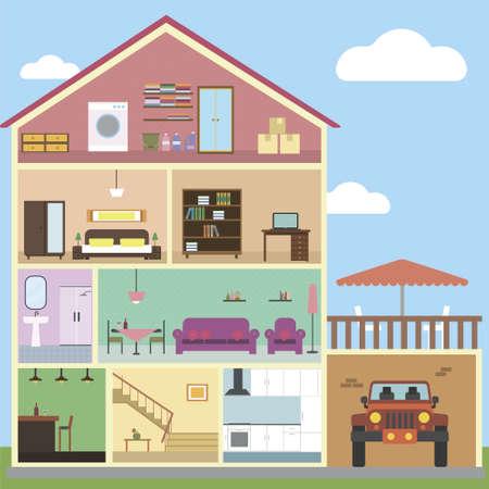 Binnen huis interieur concept vector met geïsoleerde objecten