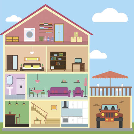 Inside house interior concept vector with isolated objects
