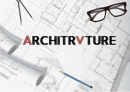 Architecture plan background banner vector with isolated elements Vettoriali