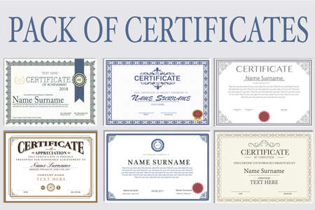 Collection of isolated Certificates in different styles