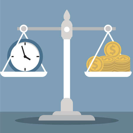 Time is Money isolated vector concept on blue background