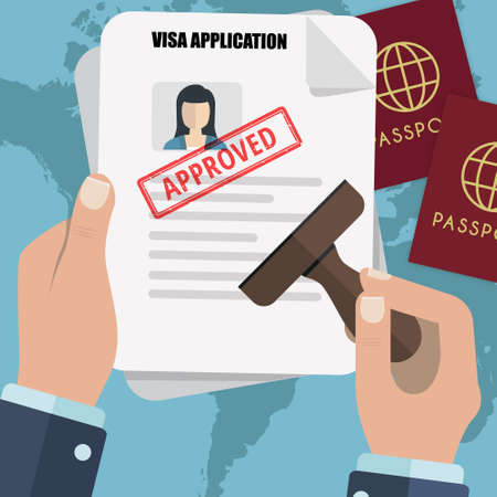 Emigration Visa Application concept with hand and papers Banco de Imagens - 81003155