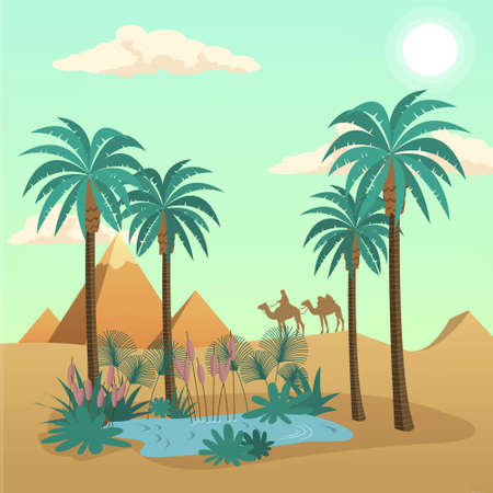 pyramid of the sun: Egypt desert Landscape vector concept with palms and camels Stock Photo