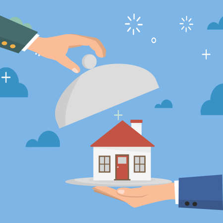Real estate selling concept with isolated objects