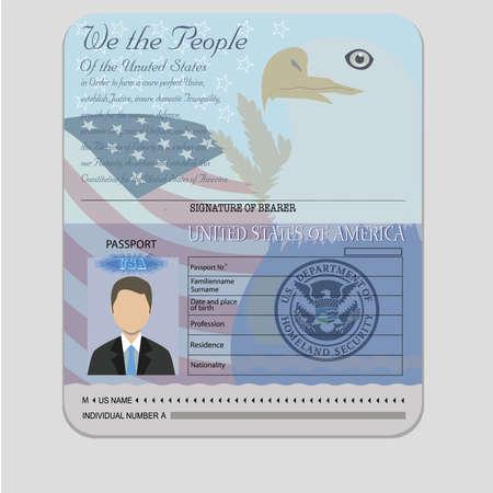 孤立したオブジェクトのベクトルとアメリカのパスポート teamplate 写真素材