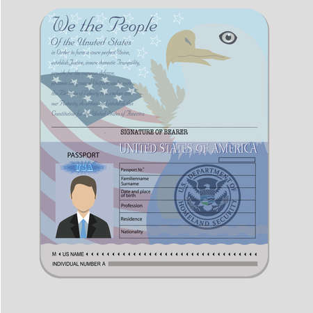 American Passport teamplate with isolated objects vector Stock Photo