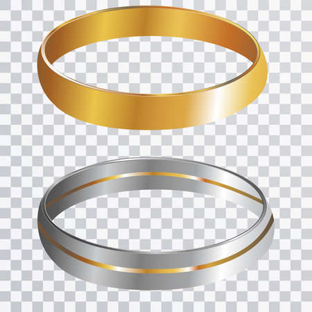 metal mesh: Wedding Rings on transparent paper vector concept