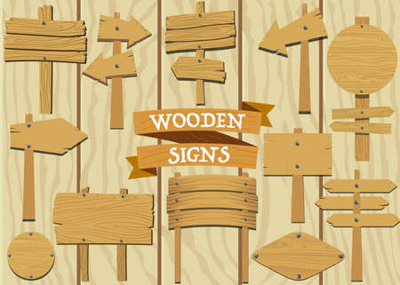 plywood: Collection of Wooden Signs in different styles