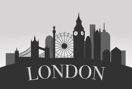 london tower bridge: London Silhouette Landscape concept vector black on grey background