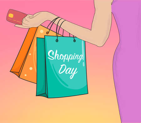 Concept of  Hand Drawn Shopping Day with hand holding bank card and bags