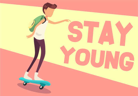 Concept of isolated Young man on skateboard stay young Ilustração