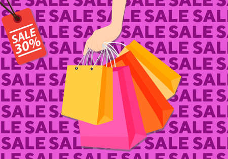 Sale shopping with hand holding shop bags on sale pattern
