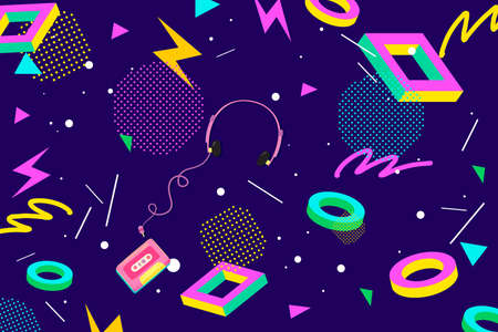 Concept of Retro Eighties Abstract Background Pattern Ilustrace