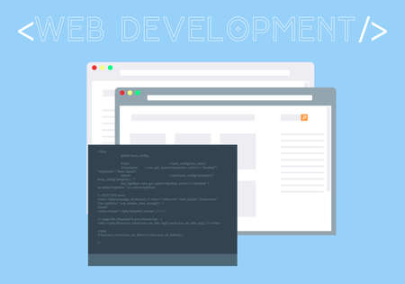 Concept of isolated Web development colourful vector windows