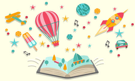 Concept of Open book dreams with abstract elements Illustration